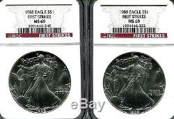 1988 Silver American Eagle MS-69 NGC (First Strike) 1 LOT OF 20 COINS