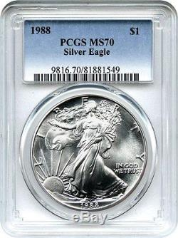 1988 Silver Eagle $1 PCGS MS70 American Eagle Silver Dollar ASE