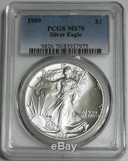 1989 $1 1 oz. American Silver Eagle Perfect Graded PCGS MS70 Only 57 70's Exist