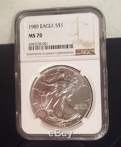 1989 American Silver Eagle $1 Coin Ngc Ms70 / Beautiful / No Milk Spots