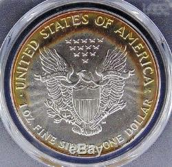 1989 American Silver Eagle Pcgs Certified Ms 67 Mint State Monster Color (347)