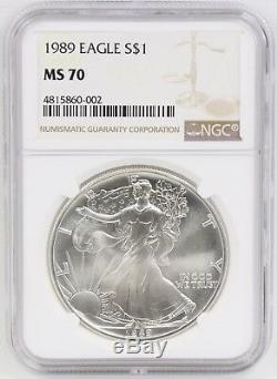 1989 American Silver Eagle Dollar $1 NGC MS70 Bright White ASE