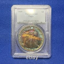1989 American Silver Eagle PCGS MS68. TONED DOUBLE SIDED TONING! A122