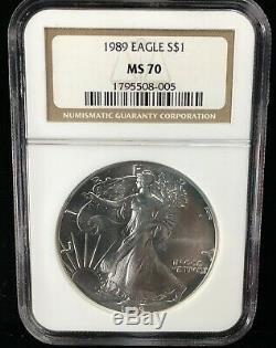 1989 Ms 70 Ngc American Silver Eagle Low Population (005)