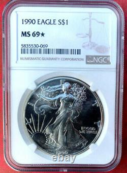 1990 STAR. Silver Eagle. MS69. NGC. PROOF LIKE SURFACES, SUPER RARE