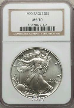 1990 Silver American Eagle Dollar $1 NGC MS70
