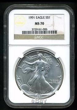 1991 $1 AMERICAN1 SILVER EAGLE NGC MS70 FLAWLESS VERY RARE IN 70