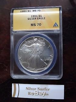 1991 American Silver Eagle Anacs Ms70 Excellent Condition Very Rare