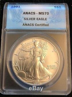1991 American 1 oz Fine. 999 Silver Eagle MS70 ANACS Certified RARE
