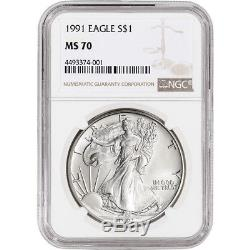 1991 American Silver Eagle NGC MS70