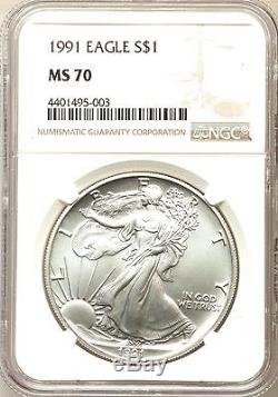 1991 Ase American Silver Eagle Ngc Ms70, Stunning Coin! Key Date