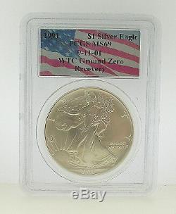 1991 Pcgs Ms69 9-11-01 Wtc Ground Zero Recovery American Silver Eagle
