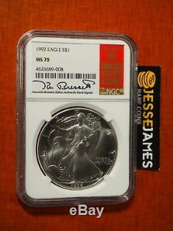 1992 American Silver Eagle Ngc Ms70 Kenneth Bressett Signed Label Low Pop 14