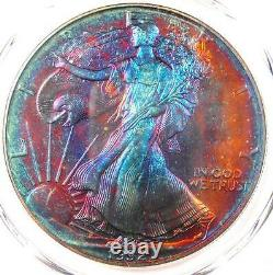 1992 Toned American Silver Eagle Dollar $1 ASE PCGS MS68 Rainbow Toning