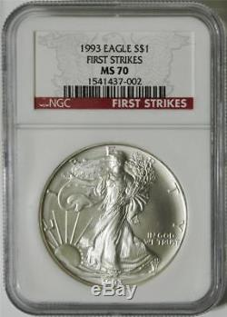 1993 $1 1 oz American Silver Eagle NGC MS 70 FIRST STRIKES VERY RARE POP 1 COIN