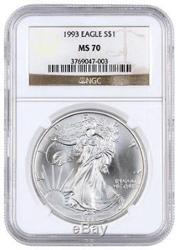 1993 1 Troy Oz American Silver Eagle $1 NGC MS70 (Mint State 70) SKU27843