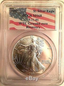 1993 911 American Silver Eagle Wtc Ground Zero Recovery Ms68 Very Rare