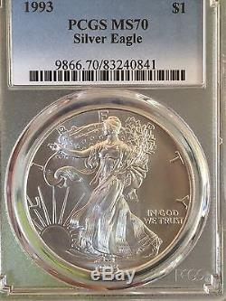 1993 American Silver Eagle Ms70 Wow Pop 1 Of Only 3 One Of Rarest Eagles