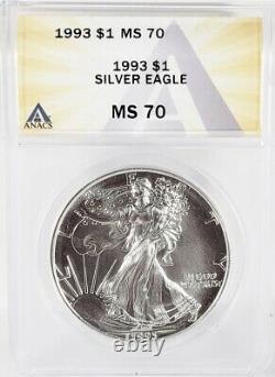 1993 American Silver Eagle $1 Gem Brilliant Uncirculated ANACS MS70