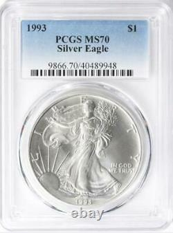 1993 American Silver Eagle One Dollar MS70 Coin