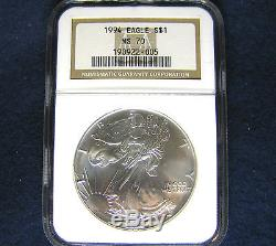 1994 $1 American Silver Eagle NGC MS70 Coin Population ONLY 195