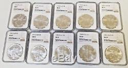 1994 NGC MS69 SILVER AMERICAN EAGLE 1 OZ BULLION COIN LOT of 10 see pics