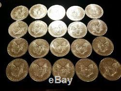 1994 Roll Of 20 American Silver Eagles. Tube Dollar Eagle MS BU UNC. Lot B