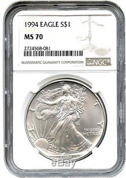 1994 Silver Eagle $1 NGC MS70 American Eagle Silver Dollar ASE