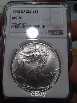 1995 $1 American Silver Eagle NGC MS70 Freshly Graded & Spot Free