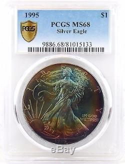 1995 American Silver Eagle MS68 PCGS with Stunning Rainbow Toned on Both Sides
