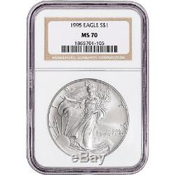 1995 American Silver Eagle NGC MS70 NGC Non Edge-View Holder