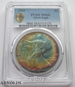 1995 Pcgs Ms68 American Silver Eagle Rainbow Toning
