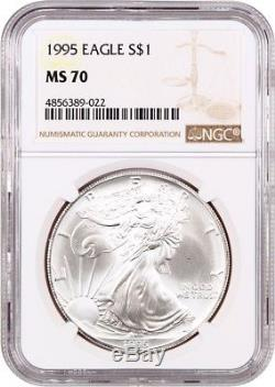 1995 Silver Eagle $1 NGC MS70 American Eagle Silver Dollar ASE