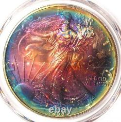1995 Toned American Silver Eagle Dollar $1 ASE PCGS MS67 Rainbow Toning Coin