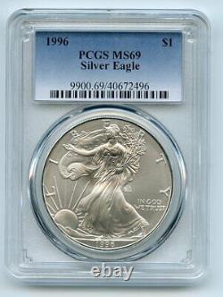 1996 $1 American Silver Eagle 1oz Dollar PCGS MS69