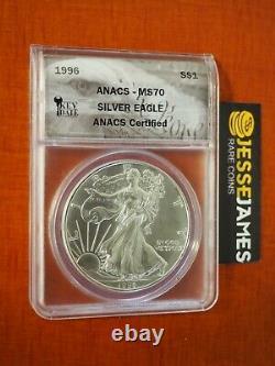 1996 $1 American Silver Eagle Anacs Ms70 Key Date Label