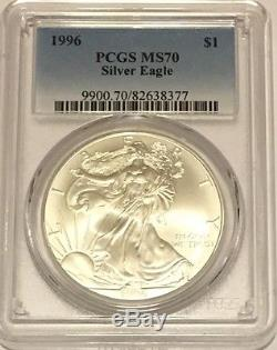 1996 $1 Pcgs Ms70 Silver American Eagle 1 Oz. 999 Fine Bullion Pop 4 Coins