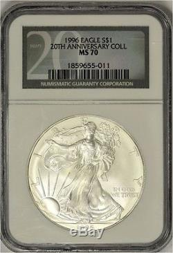 1996 1 Troy Oz American Silver Eagle NGC MS70 (Mint State 70) 20th Anniversary