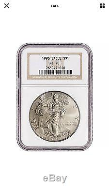 1996 American Silver Eagle NGC MS70. KEY DATE, RARE COIN