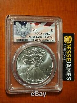 1996 American Silver Eagle Pcgs Ms69 1 Of 250 Eagle Flag Label