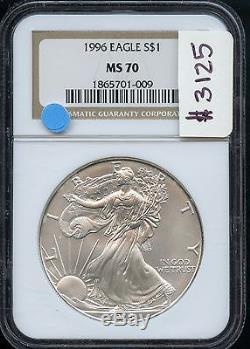 1996 NGC MS70 Certified $1 Silver U. S. American Eagle 1oz. 999 Pure AN7773 J