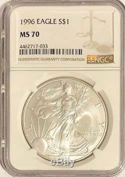 1996 Ngc Ms70 Silver American Eagle Mint State 1 Oz. 999 Bullion