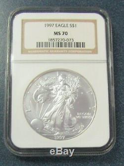 1997 $1 American Silver Eagle 1 Oz. 999 Silver NGC MS70 Cert# 1857270-073