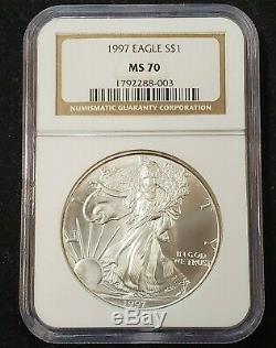 1997 $1 American Silver Eagle NGC MS70 Semi Key Date minor spotting ASE PCGS