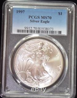 1997 PCGS MS70 Silver AMERICAN EAGLE ASE perfect coin