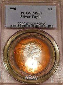 1997 Silver American Eagle/PCGS-MS67/ Fire Storm Rainbow Toning/ #1015306170
