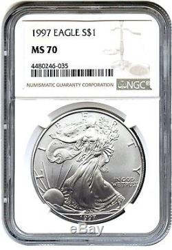 1997 Silver Eagle $1 NGC MS70 American Eagle Silver Dollar ASE
