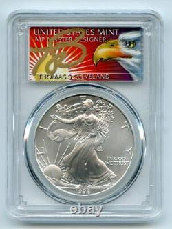1998 $1 American Silver Eagle Dollar 1oz PCGS MS70 Thomas Cleveland Eagle