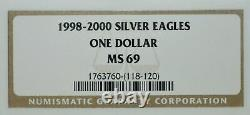 1998 2000 American Silver Eagle NGC MS69 3-Coin Multi Holder Set (NO SPOTS)