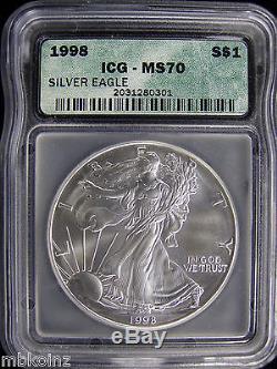 1998 AMERICAN SILVER EAGLE ICG MS70